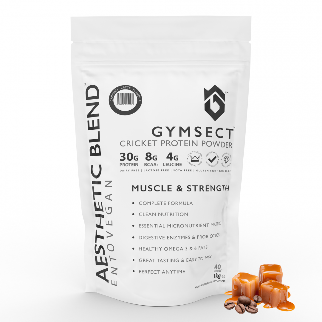 GYMSECT AESTHETIC BLEND Caramel Latte Flavour Cricket Protein Powder (Front)