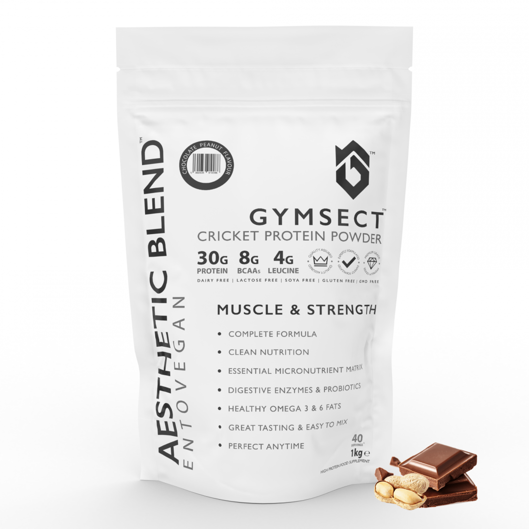 GYMSECT AESTHETIC BLEND Chocolate Peanut Flavour Cricket Protein Powder (Front)