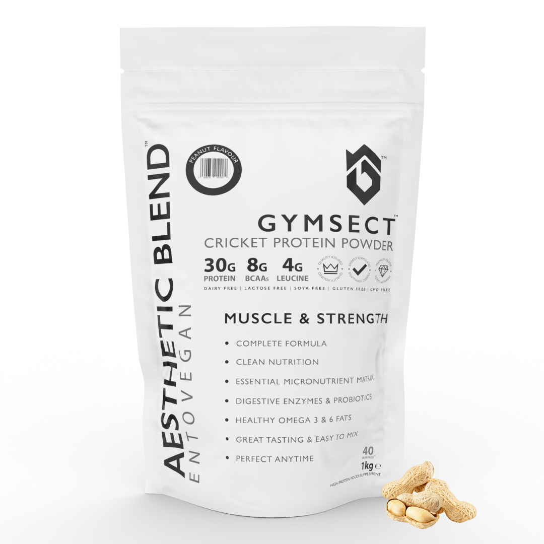 GYMSECT AESTHETIC BLEND Peanut Flavour Cricket Protein Powder (Front)