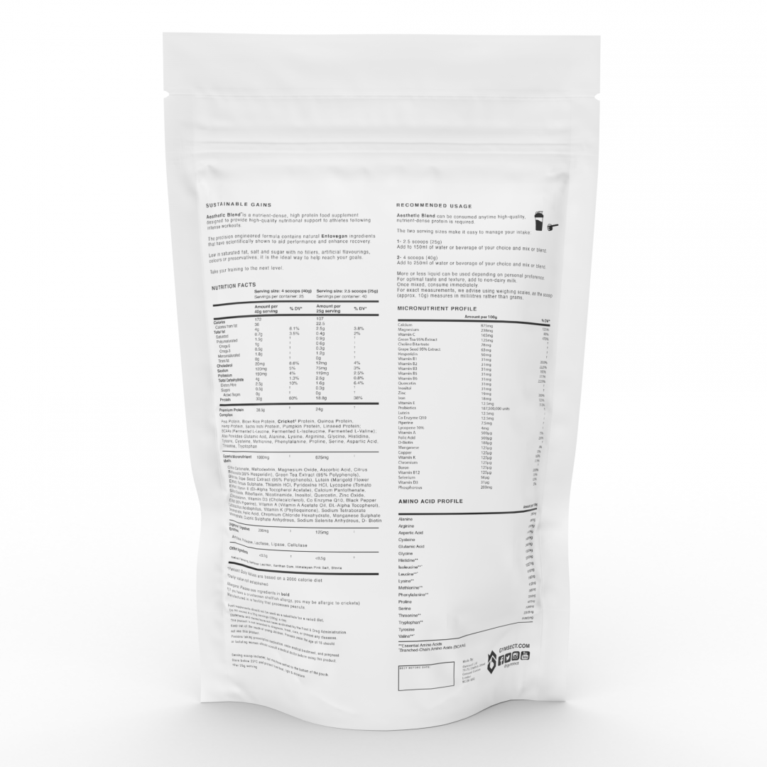 GYMSECT AESTHETIC BLEND Vanilla Flavour Cricket Protein Powder (Back)