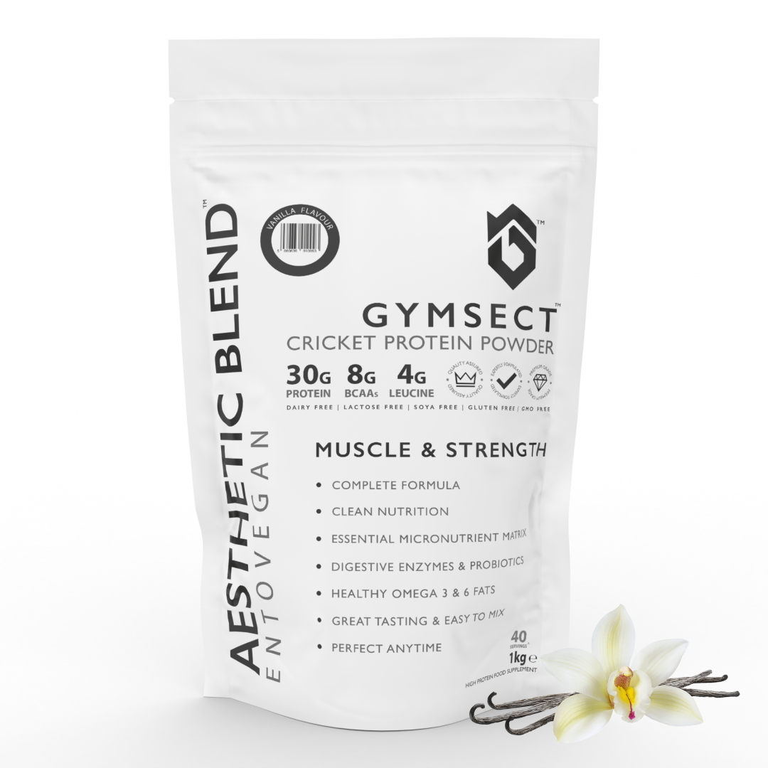 GYMSECT AESTHETIC BLEND Vanilla Flavour Cricket Protein Powder (Front)